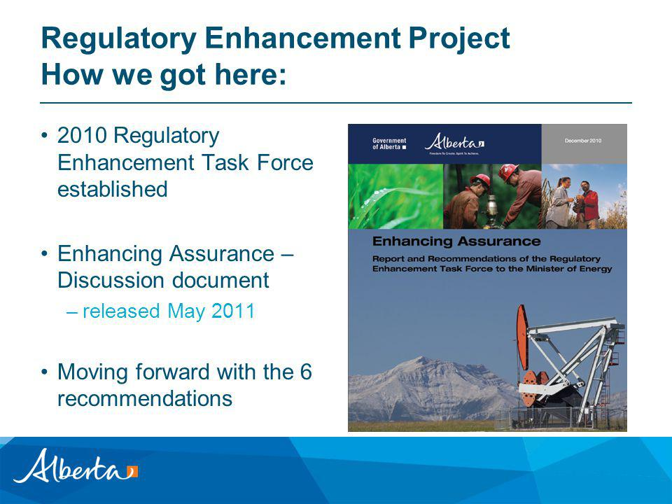 Regulatory Enhancement Project How we got here: 2010 Regulatory Enhancement Task Force established Enhancing Assurance – Discussion document –released May 2011 Moving forward with the 6 recommendations