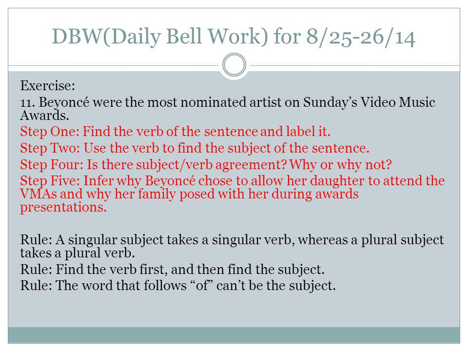 DBW(Daily Bell Work) for 8/25-26/14 Exercise: 11.