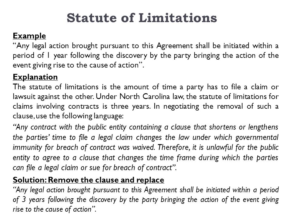 Statute of Limitations Example Any legal action brought pursuant to this Agreement shall be initiated within a period of 1 year following the discovery by the party bringing the action of the event giving rise to the cause of action .