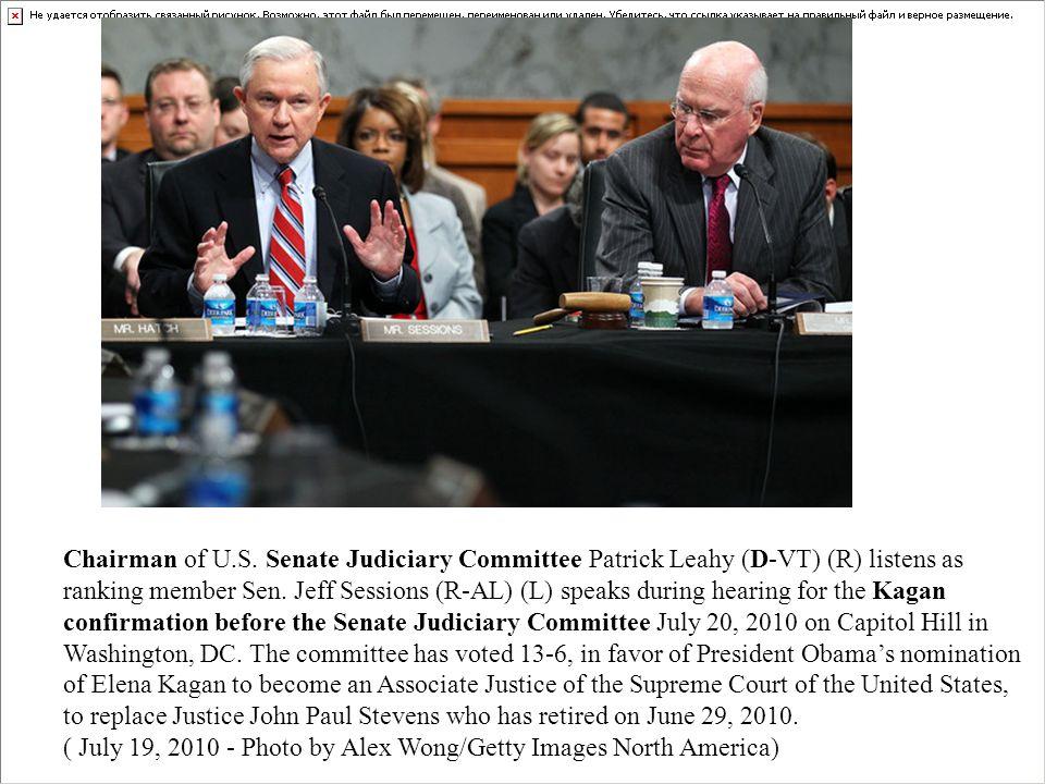 Chairman of U.S.Senate Judiciary Committee Patrick Leahy (D-VT) (R) listens as ranking member Sen.