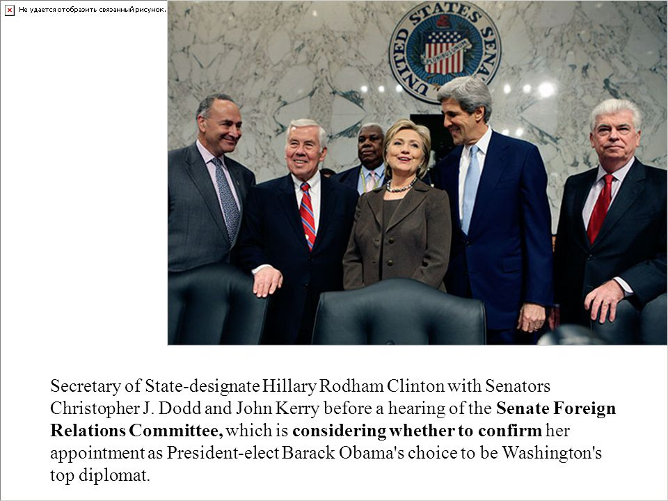 Secretary of State-designate Hillary Rodham Clinton with Senators Christopher J. Dodd and John Kerry before a hearing of the Senate Foreign Relations