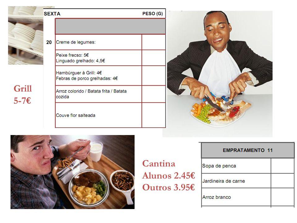 Cantina Alunos 2.45€ Outros 3.95€ Grill 5-7€