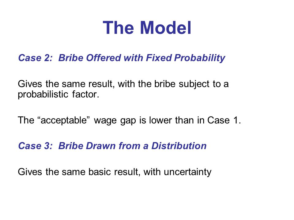 "The Model Case 2: Bribe Offered with Fixed Probability Gives the same result, with the bribe subject to a probabilistic factor. The ""acceptable"" wage"