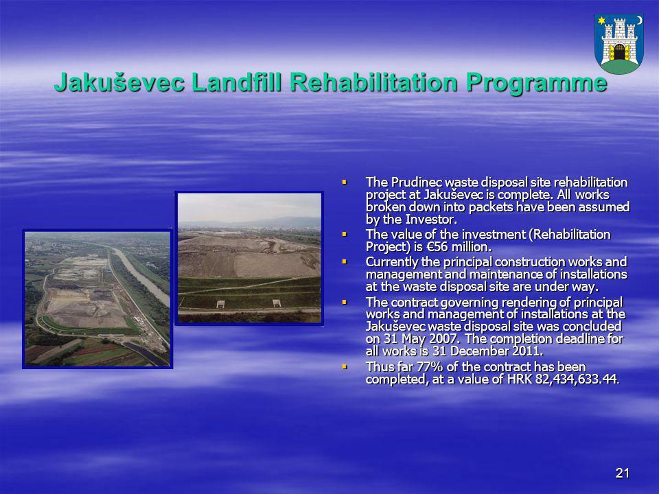 21 Jakuševec Landfill Rehabilitation Programme  The Prudinec waste disposal site rehabilitation project at Jakuševec is complete.