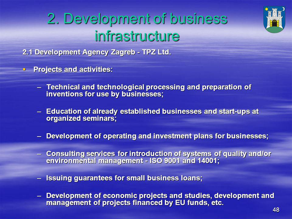 48 2. Development of business infrastructure 2.1 Development Agency Zagreb - TPZ Ltd.