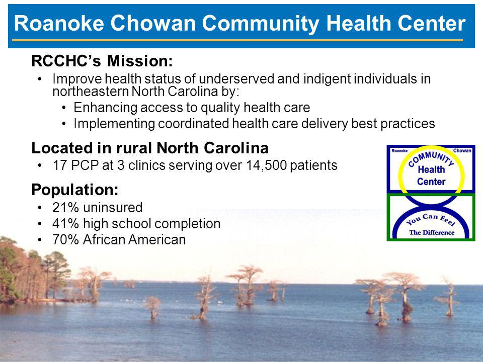 Roanoke Chowan Community Health Center RCCHC's Mission: Improve health status of underserved and indigent individuals in northeastern North Carolina by: Enhancing access to quality health care Implementing coordinated health care delivery best practices Located in rural North Carolina 17 PCP at 3 clinics serving over 14,500 patients Population: 21% uninsured 41% high school completion 70% African American