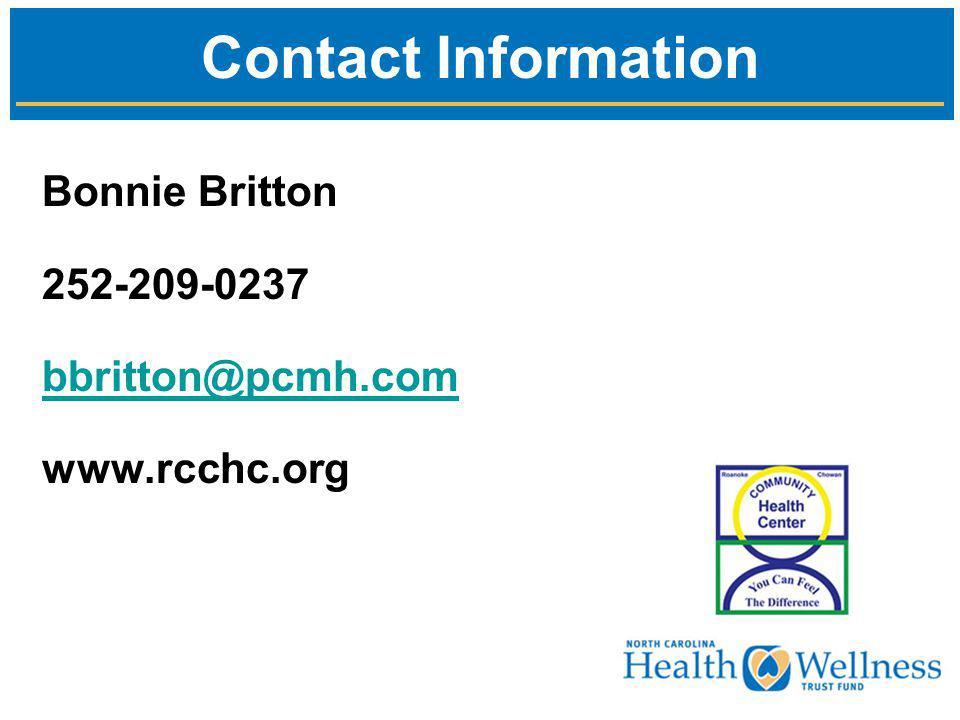 Bonnie Britton 252-209-0237 bbritton@pcmh.com www.rcchc.org Contact Information