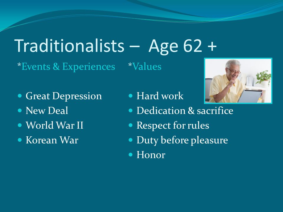 Traditionalists – Age 62 + *Events & Experiences Great Depression New Deal World War II Korean War *Values Hard work Dedication & sacrifice Respect for rules Duty before pleasure Honor