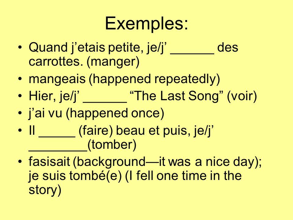 Exemples: Quand j'etais petite, je/j' ______ des carrottes.