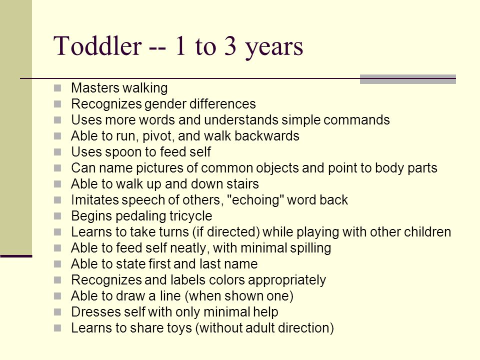 Sensory and cognitive markers: 6 month old Vision is between 20/60 and 20/40 Can locate sounds not made directly at the ear level Prefers more complex sound stimulation Starts to imitate sounds Sounds resemble one-syllable words Enjoys hearing own voice Makes sounds to mirror and toys Begins to fear strangers Recognizes parents Begins to imitate actions Begins to realize that if an object is dropped, it is still there and just needs to be picked up
