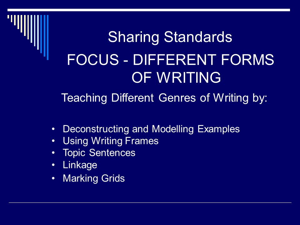 Sharing Standards FOCUS - DIFFERENT FORMS OF WRITING Teaching Different Genres of Writing by: Deconstructing and Modelling Examples Using Writing Fram