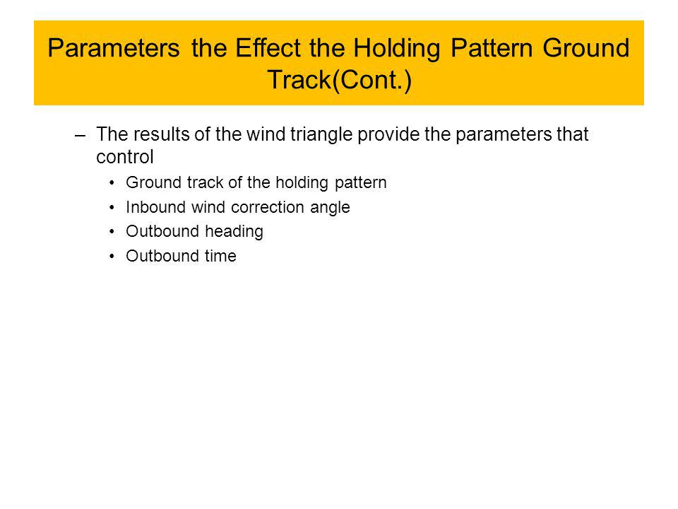 Parameters the Effect the Holding Pattern Ground Track(Cont.) –The results of the wind triangle provide the parameters that control Ground track of the holding pattern Inbound wind correction angle Outbound heading Outbound time