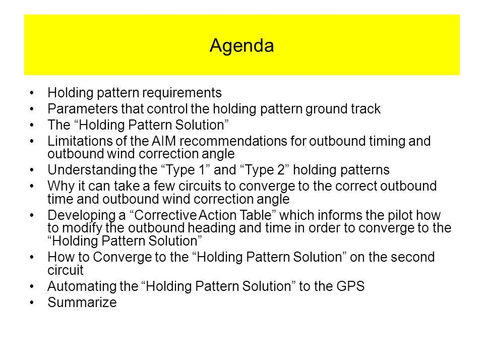 Agenda Holding pattern requirements Parameters that control the holding pattern ground track The Holding Pattern Solution Limitations of the AIM recommendations for outbound timing and outbound wind correction angle Understanding the Type 1 and Type 2 holding patterns Why it can take a few circuits to converge to the correct outbound time and outbound wind correction angle Developing a Corrective Action Table which informs the pilot how to modify the outbound heading and time in order to converge to the Holding Pattern Solution How to Converge to the Holding Pattern Solution on the second circuit Automating the Holding Pattern Solution to the GPS Summarize