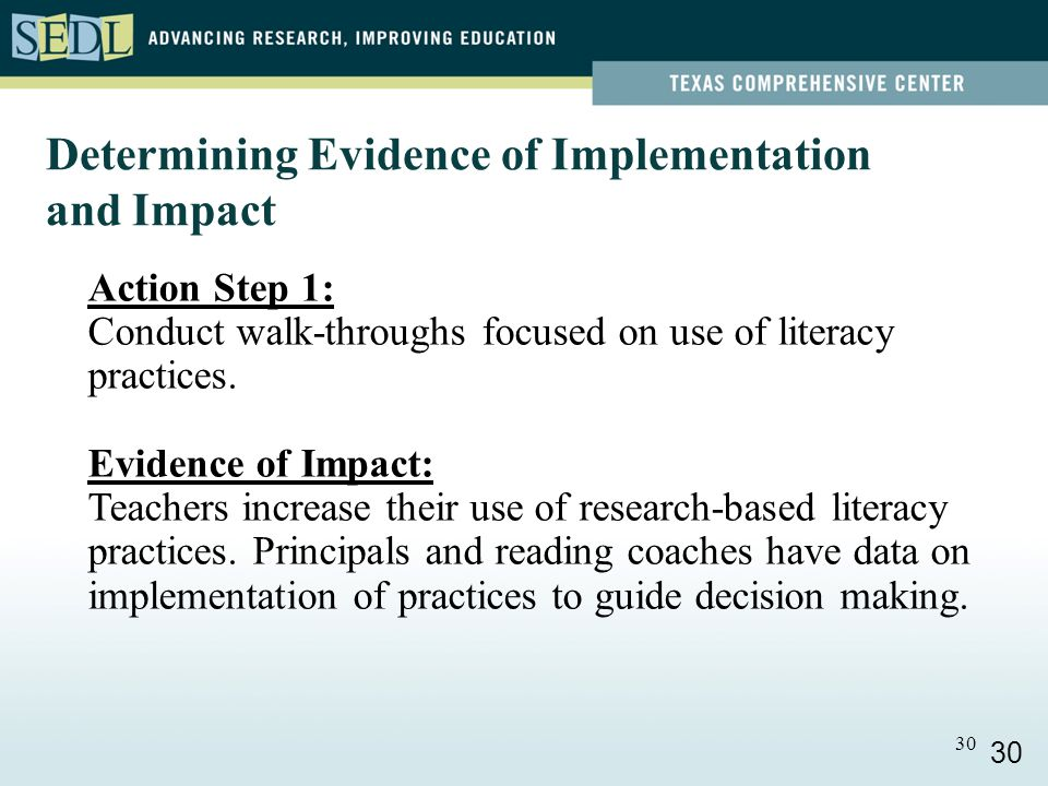 30 Action Step 1: Conduct walk-throughs focused on use of literacy practices.