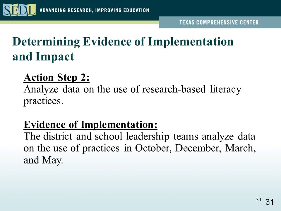 31 Determining Evidence of Implementation and Impact Action Step 2: Analyze data on the use of research-based literacy practices.