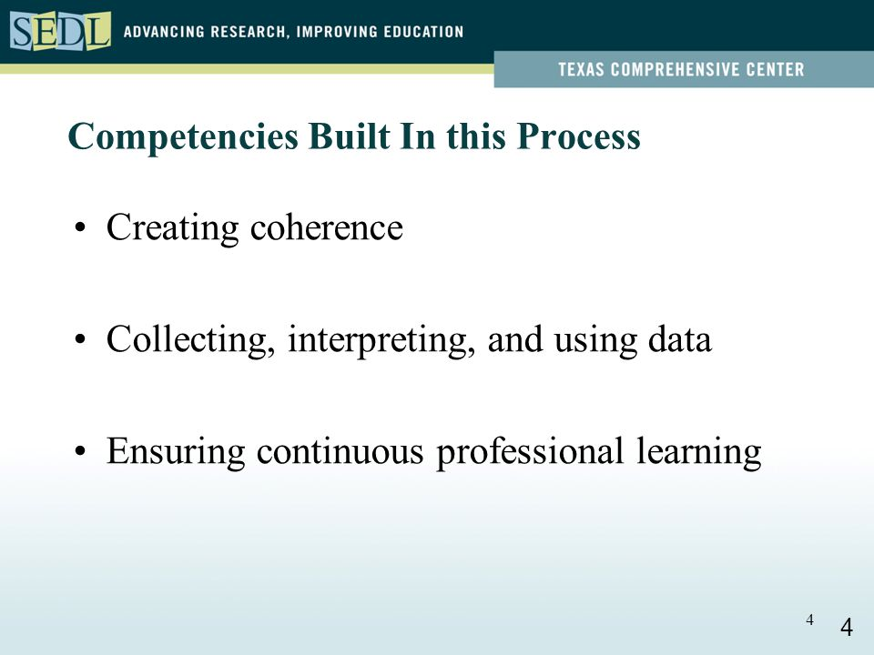 4 Competencies Built In this Process Creating coherence Collecting, interpreting, and using data Ensuring continuous professional learning 4