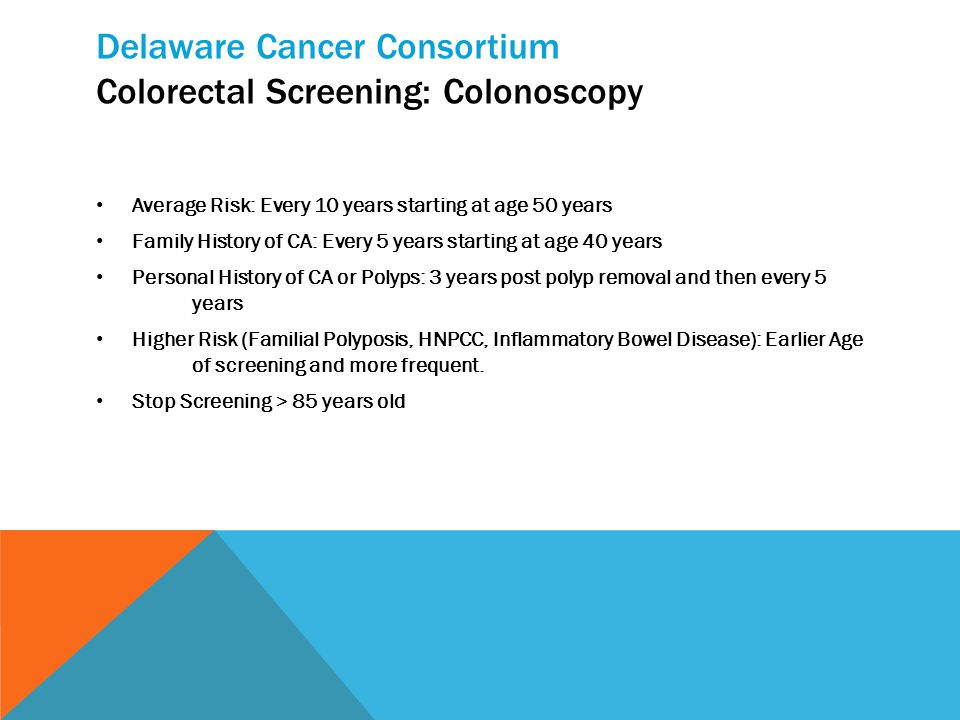 Delaware Cancer Consortium Colorectal Screening: Colonoscopy Average Risk: Every 10 years starting at age 50 years Family History of CA: Every 5 years starting at age 40 years Personal History of CA or Polyps: 3 years post polyp removal and then every 5 years Higher Risk (Familial Polyposis, HNPCC, Inflammatory Bowel Disease): Earlier Age of screening and more frequent.