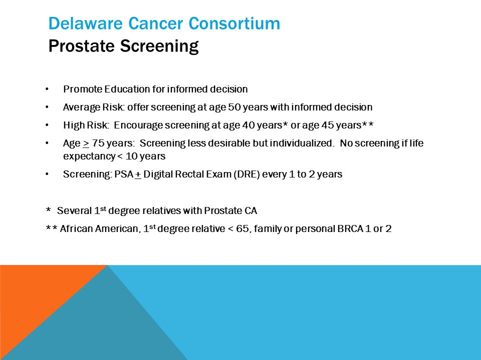 Delaware Cancer Consortium Prostate Screening Promote Education for informed decision Average Risk: offer screening at age 50 years with informed decision High Risk: Encourage screening at age 40 years* or age 45 years** Age > 75 years: Screening less desirable but individualized.