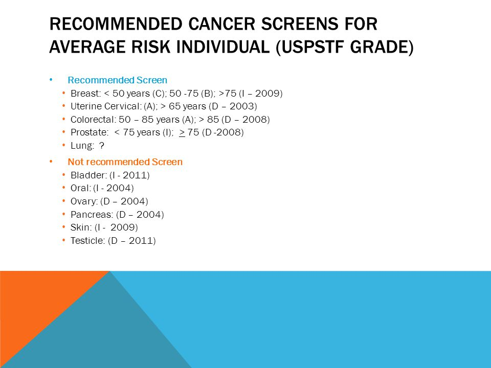 RECOMMENDED CANCER SCREENS FOR AVERAGE RISK INDIVIDUAL (USPSTF GRADE) Recommended Screen Breast: 75 (I – 2009) Uterine Cervical: (A); > 65 years (D – 2003) Colorectal: 50 – 85 years (A); > 85 (D – 2008) Prostate: 75 (D -2008) Lung: .