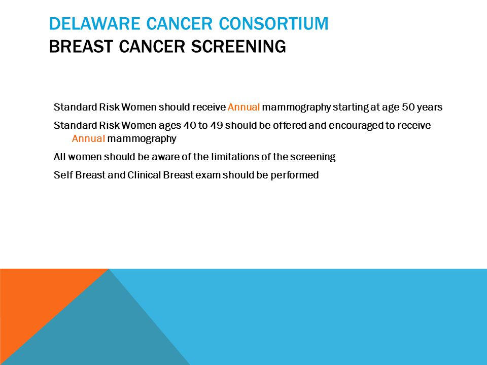 Delaware Cancer Consortium Cervical Screening (PAP) AGE (years) Low Risk High Risk* <21 None Start @ 18 years 21 – 30 Every 2 years Annual >30 Every 2 years Annual Every 3 years if 3 negative PAPs or Normal PAP and negative HPV >65 Stop if 3 prior negative PAPs in last 10 years & Annual No abnormal in last 10 years *High Risk: early onset of sexual activity, multiple partners, history of STD
