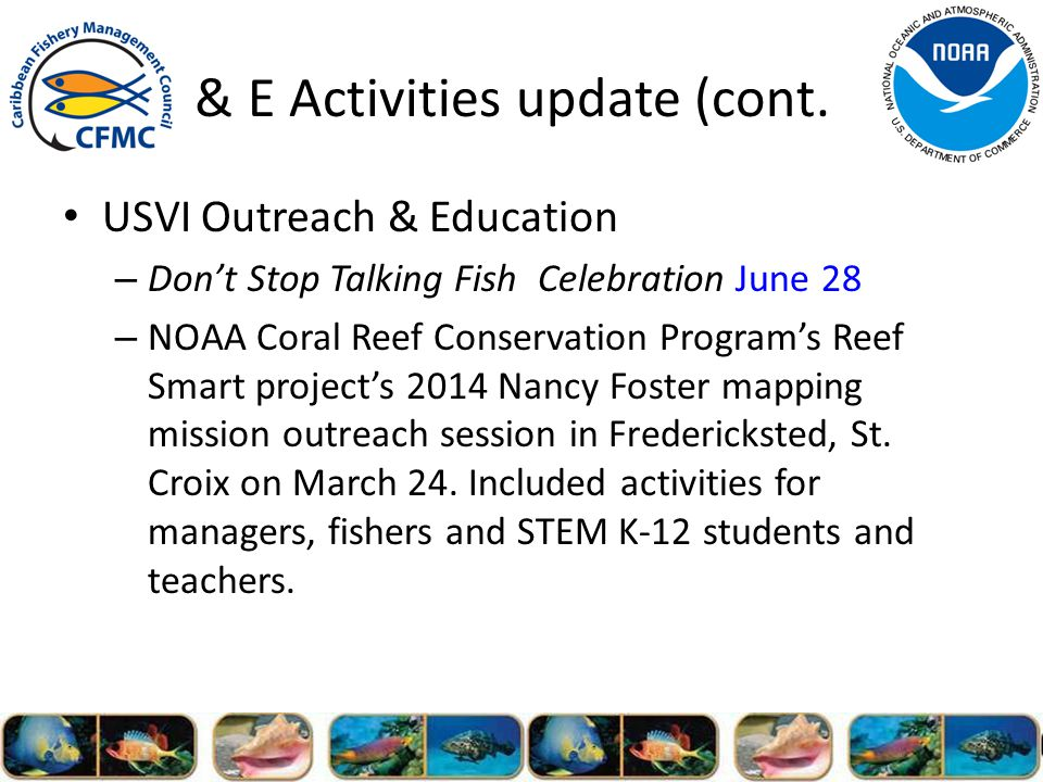 O & E Activities update (cont.