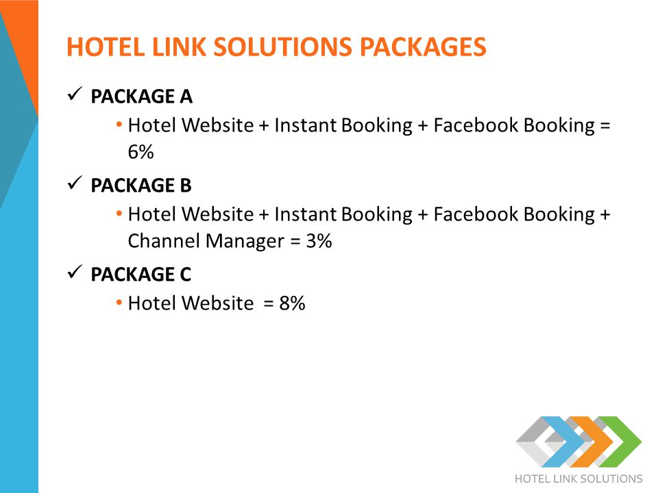 HOTEL LINK SOLUTIONS PACKAGES PACKAGE A Hotel Website + Instant Booking + Facebook Booking = 6% PACKAGE B Hotel Website + Instant Booking + Facebook Booking + Channel Manager = 3% PACKAGE C Hotel Website = 8%