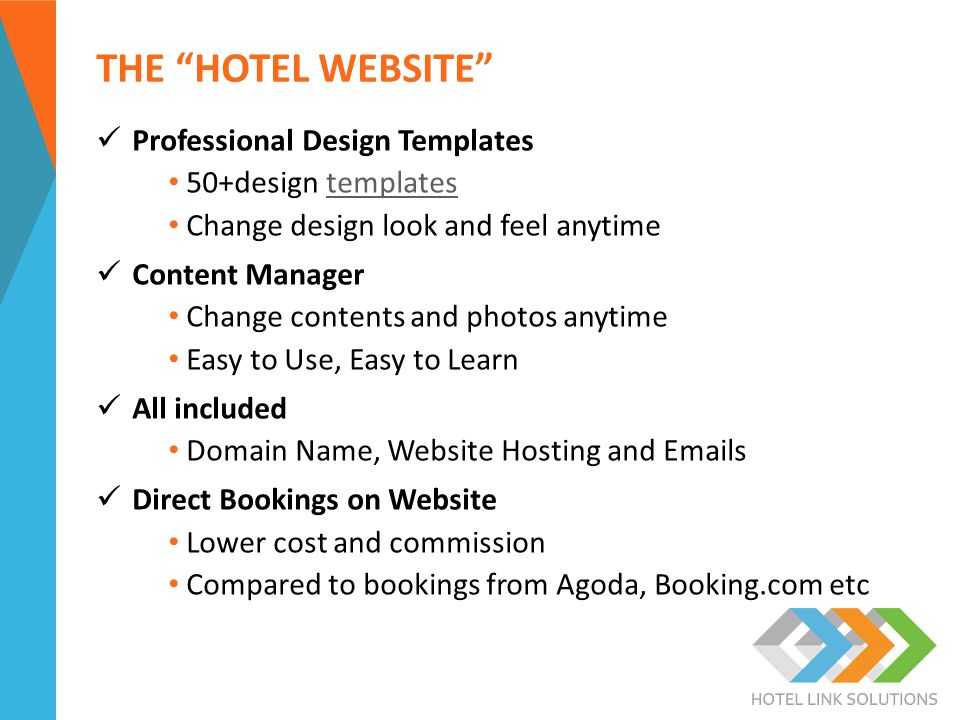 """THE """"HOTEL WEBSITE"""" Professional Design Templates 50+design templatestemplates Change design look and feel anytime Content Manager Change contents and"""