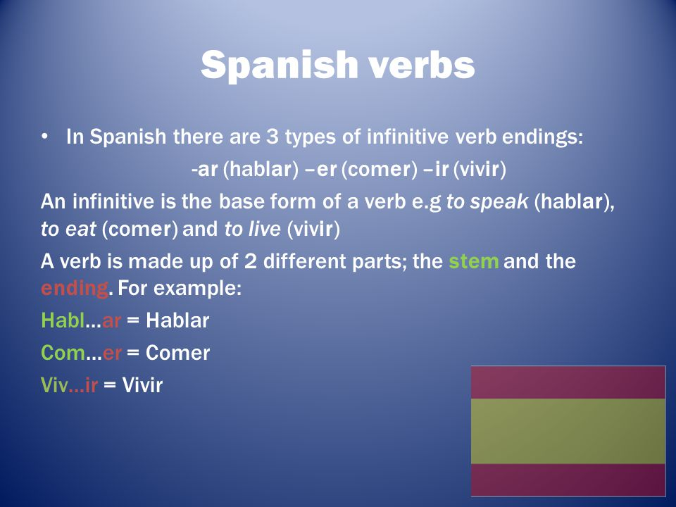 Conjugating Conjugation is the process of changing the infinitive form of the verb to suit who or what is doing the action.