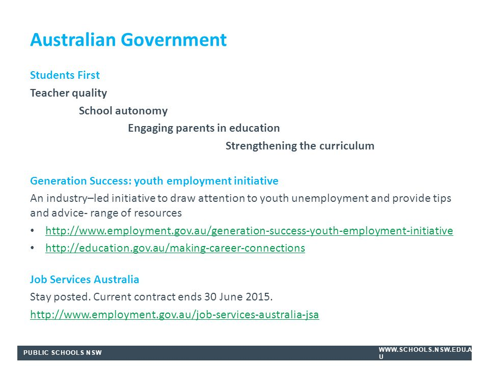 PUBLIC SCHOOLS NSW WWW.SCHOOLS.NSW.EDU.A U Students First Teacher quality School autonomy Engaging parents in education Strengthening the curriculum Generation Success: youth employment initiative An industry–led initiative to draw attention to youth unemployment and provide tips and advice- range of resources http://www.employment.gov.au/generation-success-youth-employment-initiative http://education.gov.au/making-career-connections Job Services Australia Stay posted.