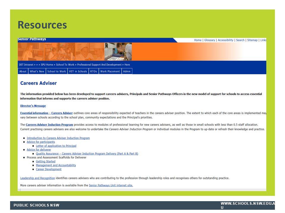 PUBLIC SCHOOLS NSW WWW.SCHOOLS.NSW.EDU.A U Resources
