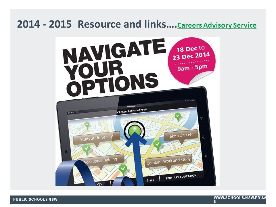 PUBLIC SCHOOLS NSW WWW.SCHOOLS.NSW.EDU.A U 2014 - 2015 Resource and links….