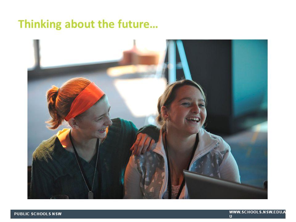 PUBLIC SCHOOLS NSW WWW.SCHOOLS.NSW.EDU.A U Thinking about the future…