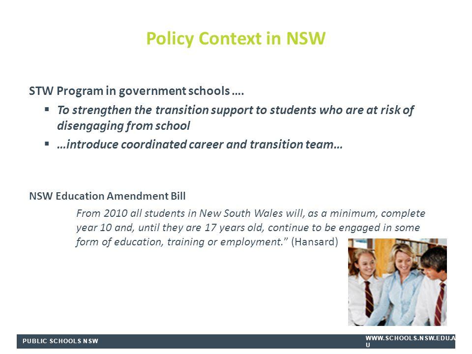 PUBLIC SCHOOLS NSW WWW.SCHOOLS.NSW.EDU.A U STW Program in government schools ….