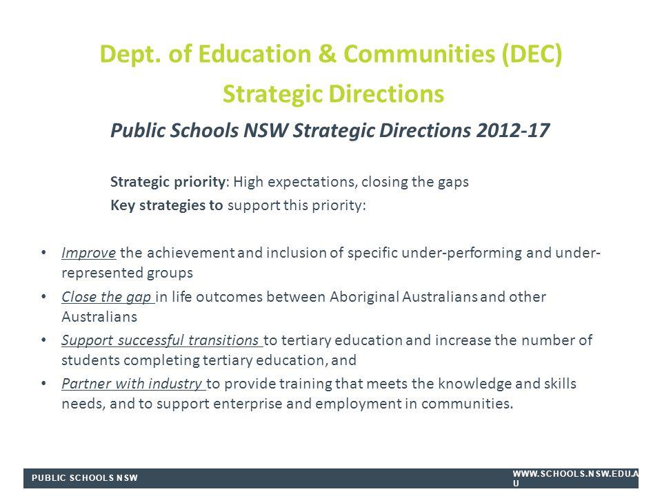 PUBLIC SCHOOLS NSW WWW.SCHOOLS.NSW.EDU.A U Public Schools NSW Strategic Directions 2012-17 Strategic priority: High expectations, closing the gaps Key