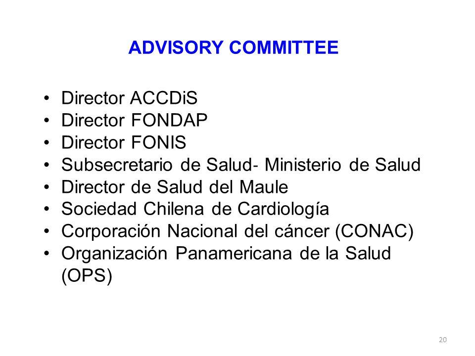 20 ADVISORY COMMITTEE Director ACCDiS Director FONDAP Director FONIS Subsecretario de Salud ‐ Ministerio de Salud Director de Salud del Maule Sociedad