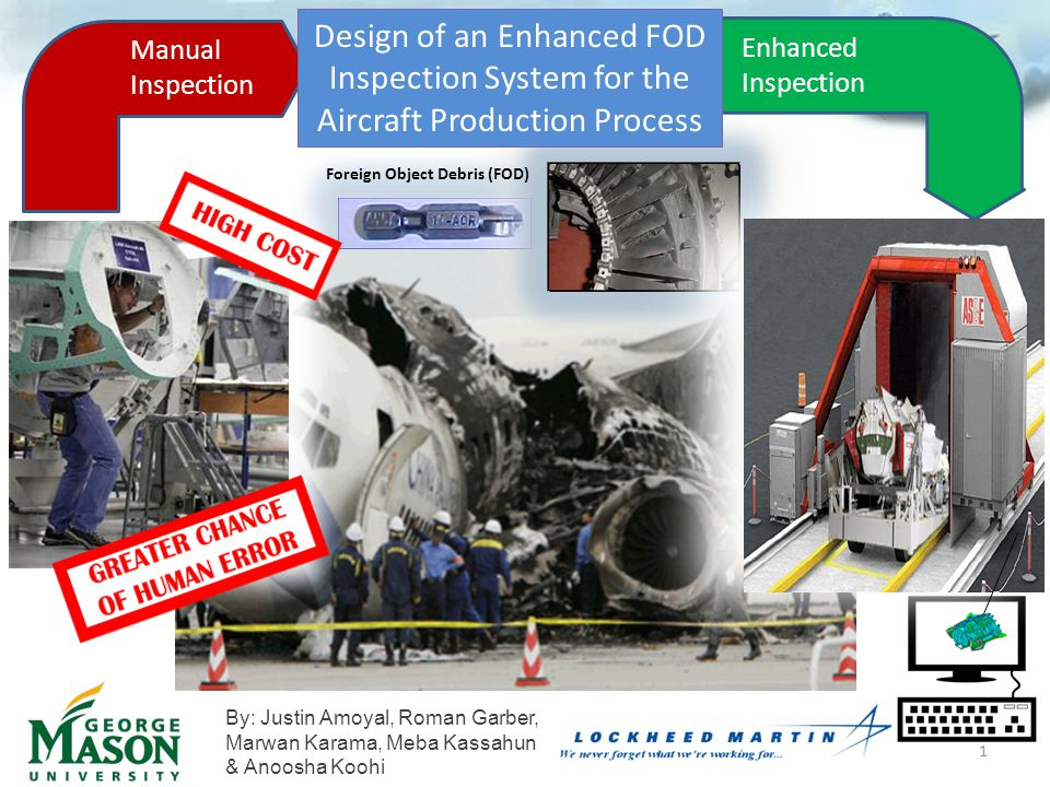 Manual InspectionEnhanced Inspection Design of an Enhanced FOD Inspection System for the Aircraft Production Process Manual Inspection Enhanced Inspection Foreign Object Debris (FOD) By: Justin Amoyal, Roman Garber, Marwan Karama, Meba Kassahun & Anoosha Koohi 1
