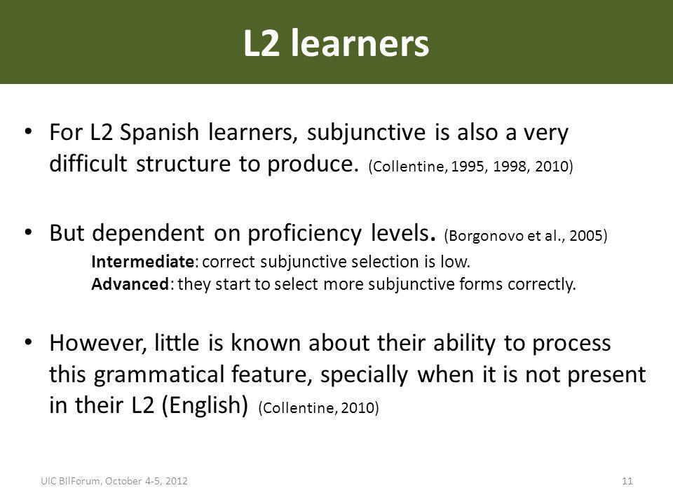 L2 learners For L2 Spanish learners, subjunctive is also a very difficult structure to produce. (Collentine, 1995, 1998, 2010) But dependent on profic