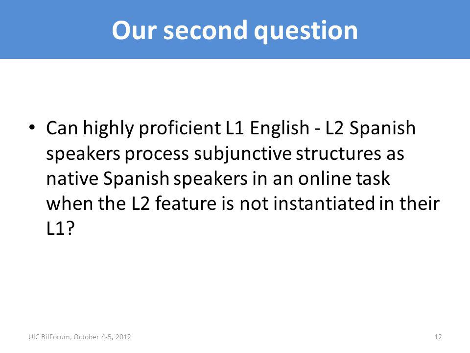 Our second question Can highly proficient L1 English - L2 Spanish speakers process subjunctive structures as native Spanish speakers in an online task