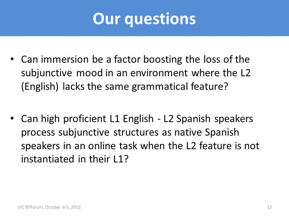 Our questions Can immersion be a factor boosting the loss of the subjunctive mood in an environment where the L2 (English) lacks the same grammatical