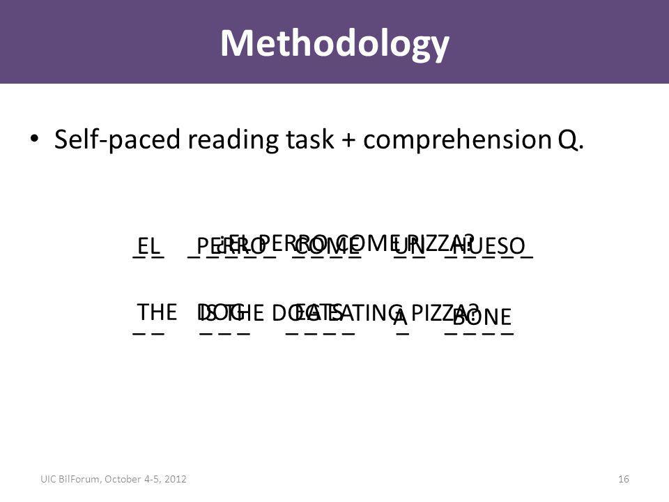 Methodology Self-paced reading task + comprehension Q.