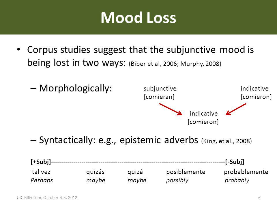 Corpus studies suggest that the subjunctive mood is being lost in two ways: (Biber et al, 2006; Murphy, 2008) – Morphologically: – Syntactically: e.g.