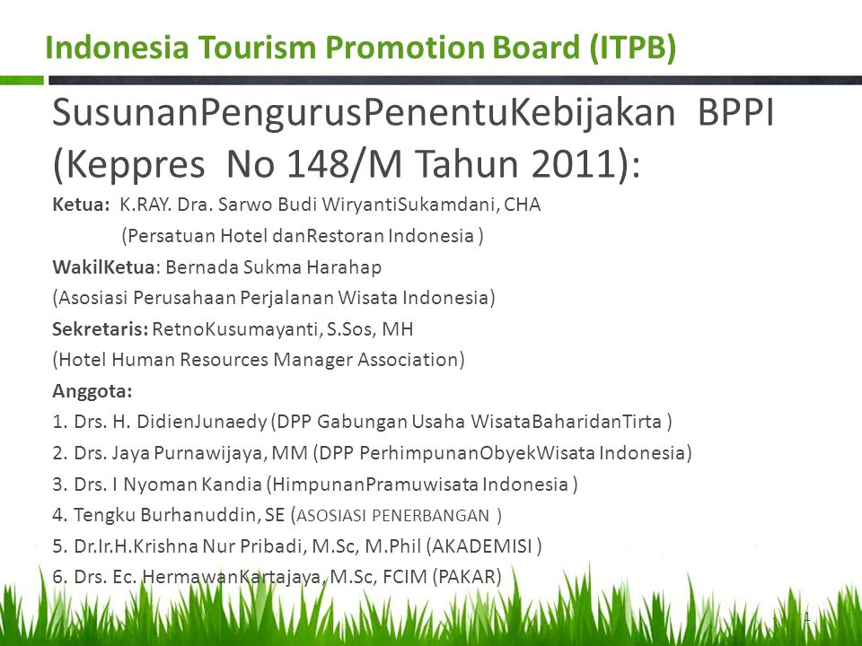 Strategic Plan for Indonesia Tourism Promotion Board (ITPB) Presenting the Wonders 2