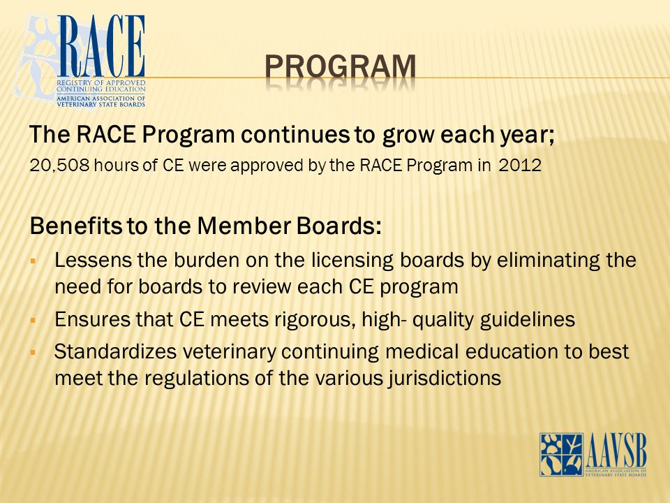The RACE Program continues to grow each year; 20,508 hours of CE were approved by the RACE Program in 2012 Benefits to the Member Boards:  Lessens th