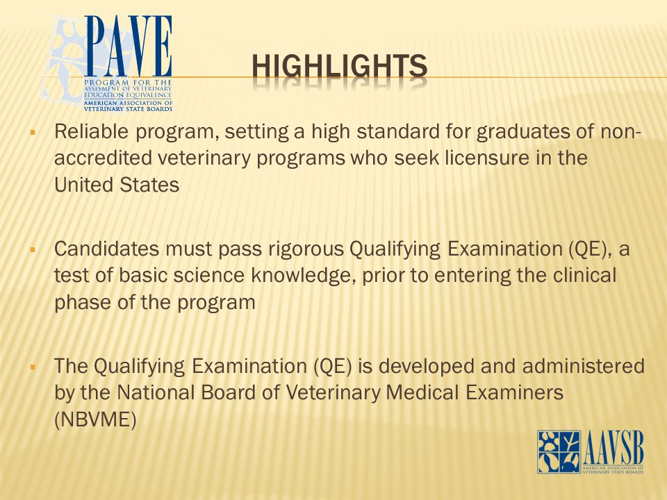  Reliable program, setting a high standard for graduates of non- accredited veterinary programs who seek licensure in the United States  Candidates must pass rigorous Qualifying Examination (QE), a test of basic science knowledge, prior to entering the clinical phase of the program  The Qualifying Examination (QE) is developed and administered by the National Board of Veterinary Medical Examiners (NBVME)