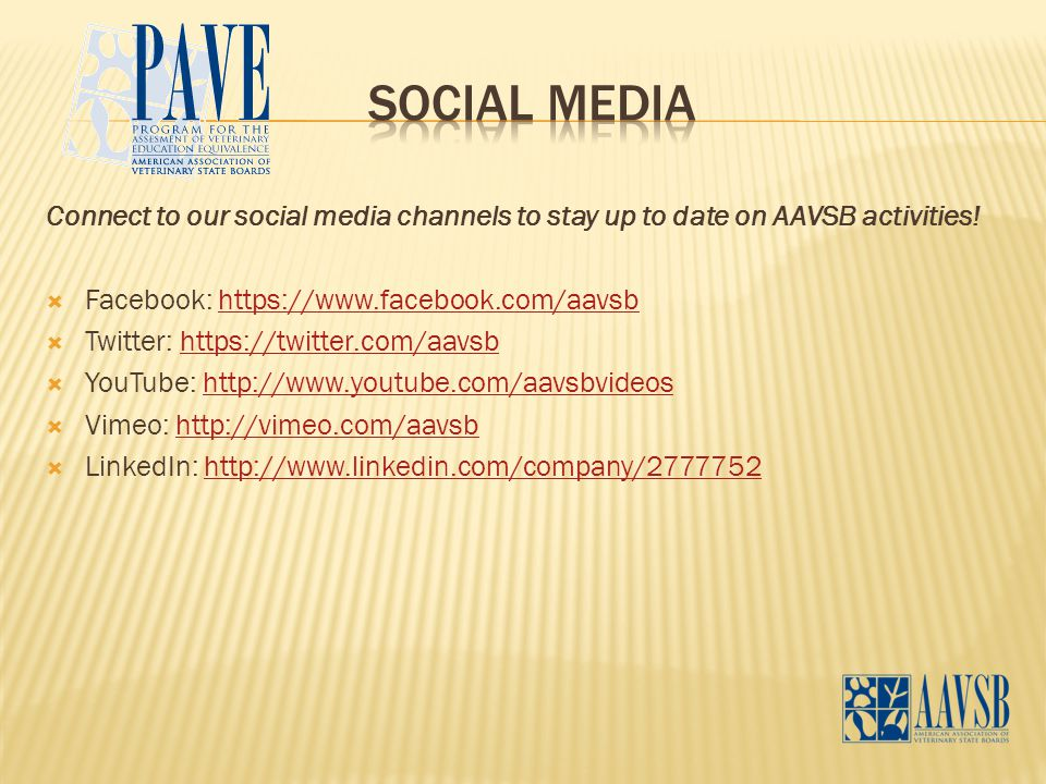 Connect to our social media channels to stay up to date on AAVSB activities.