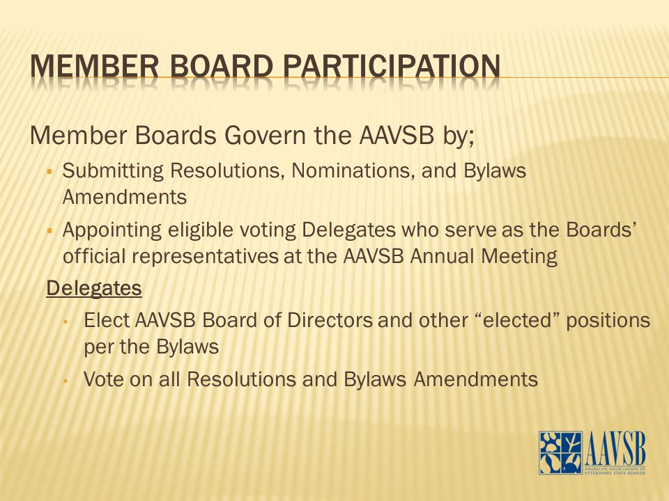 Member Boards Govern the AAVSB by;  Submitting Resolutions, Nominations, and Bylaws Amendments  Appointing eligible voting Delegates who serve as the Boards' official representatives at the AAVSB Annual Meeting Delegates Elect AAVSB Board of Directors and other elected positions per the Bylaws Vote on all Resolutions and Bylaws Amendments