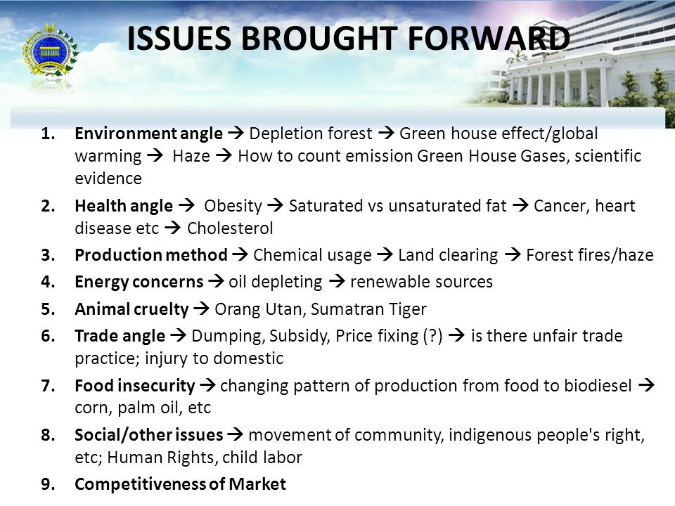 ISSUES BROUGHT FORWARD 1.Environment angle  Depletion forest  Green house effect/global warming  Haze  How to count emission Green House Gases, scientific evidence 2.Health angle  Obesity  Saturated vs unsaturated fat  Cancer, heart disease etc  Cholesterol 3.Production method  Chemical usage  Land clearing  Forest fires/haze 4.Energy concerns  oil depleting  renewable sources 5.Animal cruelty  Orang Utan, Sumatran Tiger 6.Trade angle  Dumping, Subsidy, Price fixing ( )  is there unfair trade practice; injury to domestic 7.Food insecurity  changing pattern of production from food to biodiesel  corn, palm oil, etc 8.Social/other issues  movement of community, indigenous people s right, etc; Human Rights, child labor 9.Competitiveness of Market