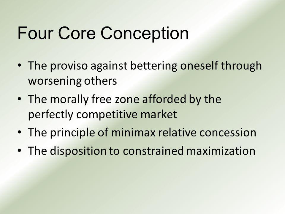 Four Core Conception The proviso against bettering oneself through worsening others The morally free zone afforded by the perfectly competitive market The principle of minimax relative concession The disposition to constrained maximization