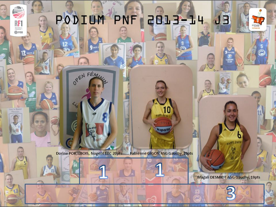 PODIUM PNF 2013-14 J3 Fabienne GIGON ASG Gauchy, 20ptsDorine PORTEBOIS, Nogent BBC 20pts Magali DESMIDT ASG Gauchy, 19pts