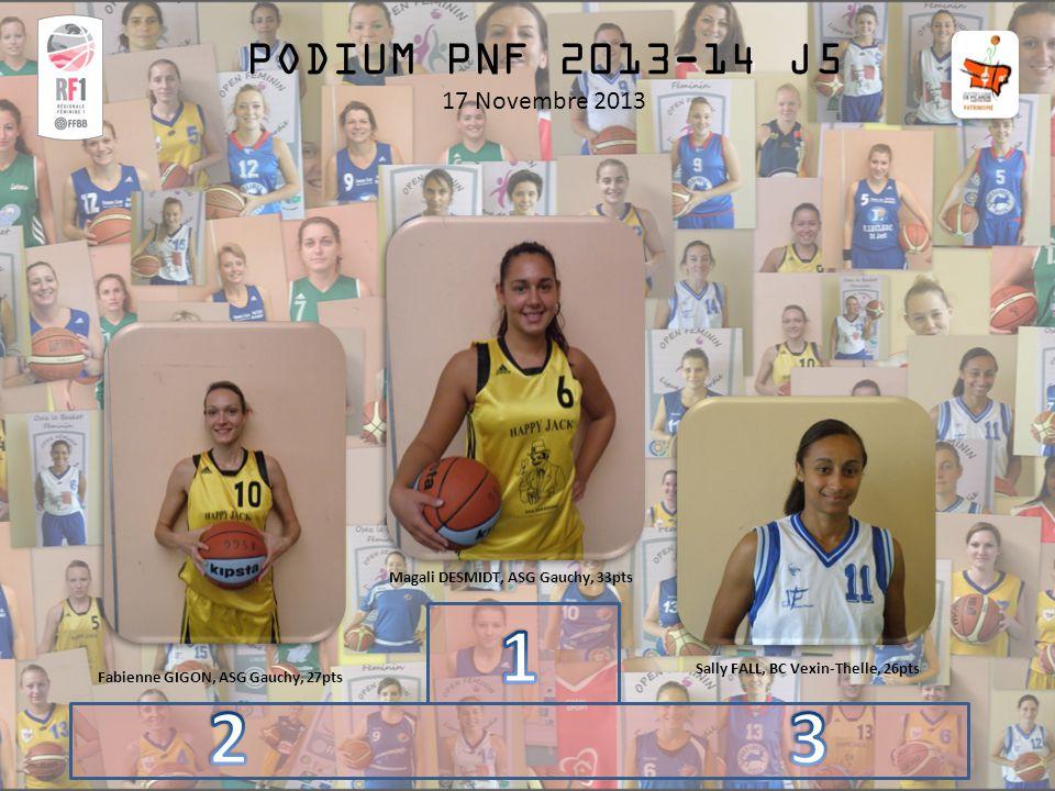 PODIUM PNF 2013-14 J5 17 Novembre 2013 Magali DESMIDT, ASG Gauchy, 33pts Sally FALL, BC Vexin-Thelle, 26pts Fabienne GIGON, ASG Gauchy, 27pts